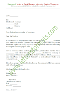 sample letter to bank for family pension
