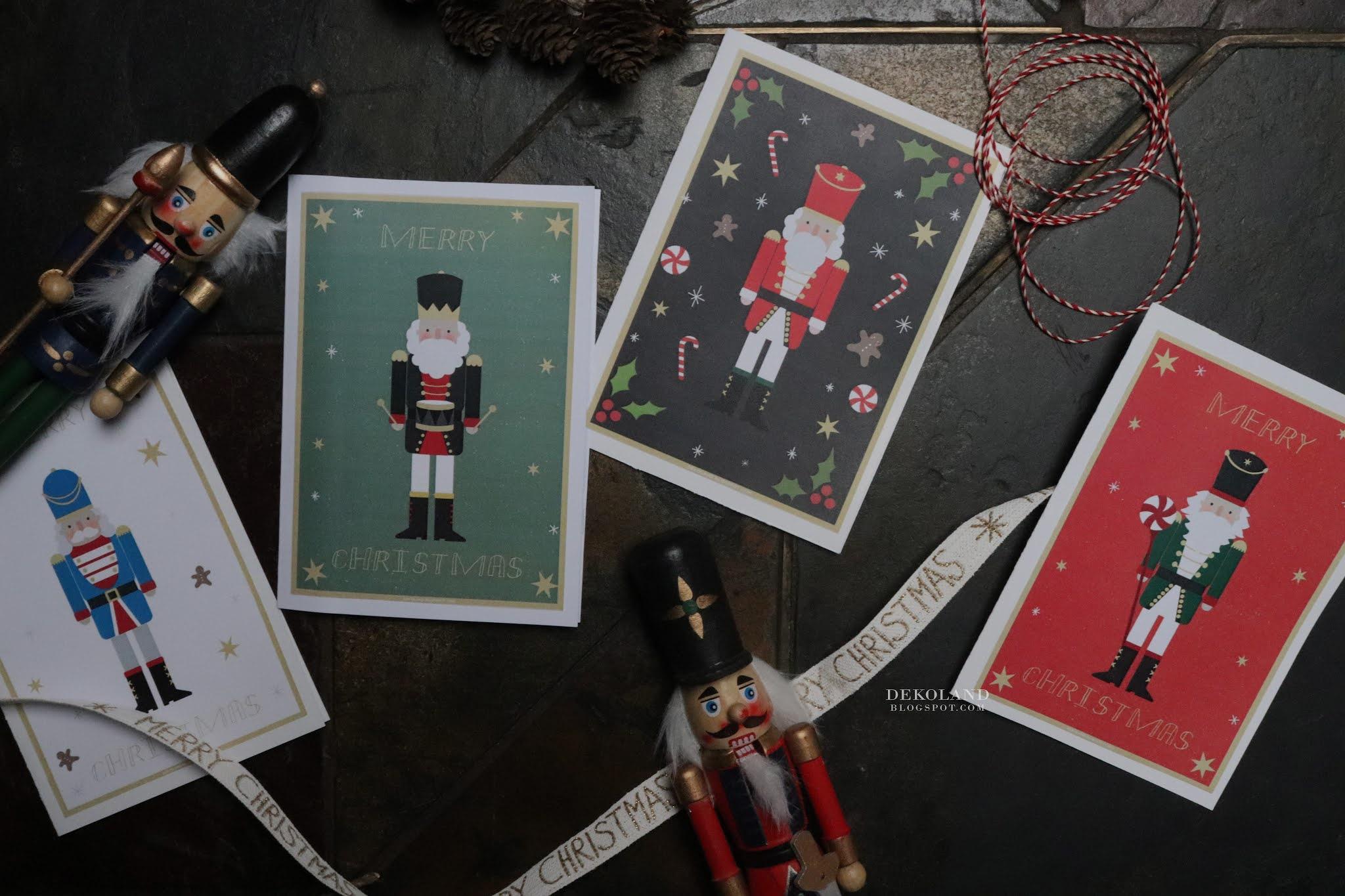 Nutcracker Card - świąteczne kartki do druku - Dziadek do orzechów