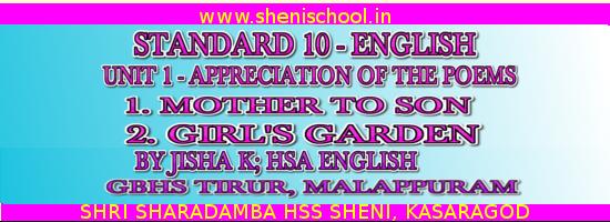 SRI SHARADAMBA HS SHENI: APPRECIATION OF THE POEMS MOTHER TO
