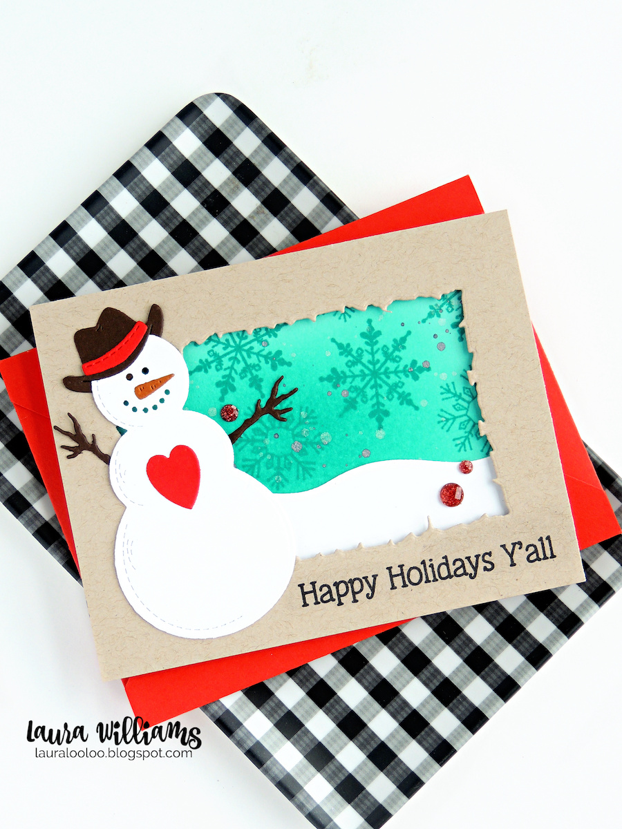 Next up, a little more cowboy-inspired holiday hoopla, with this adorable Country Snowman. How sweet is he with that cowboy hat!? And the Deckled Frame die set is one that pairs perfectly with all of today's country card ideas. For the snowman card, I used the outer die and made the frame with the negative space.