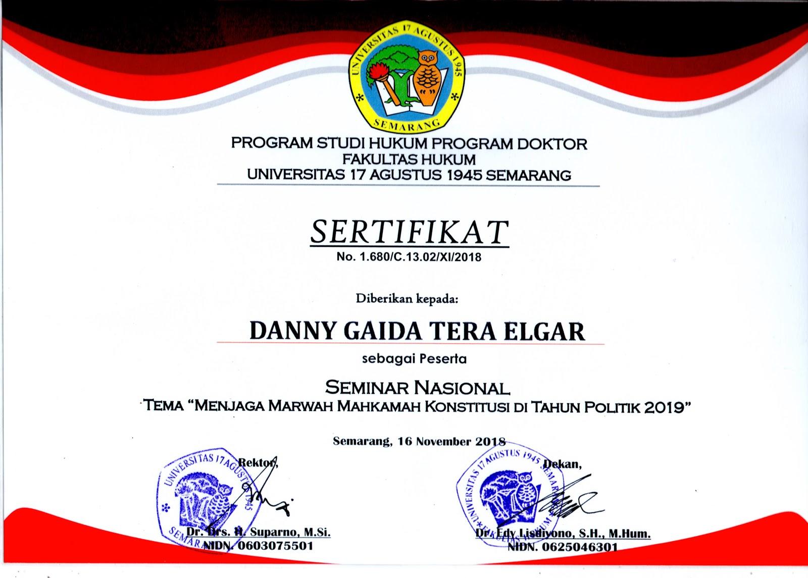 Sertifikat Seminar Nasional 2018 | Fakultas Hukum Universitas 17 Agustus 1945 (UNTAG) Semarang