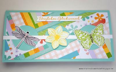 """Lange und farbenfrohe Patchwork-Karte """"Mustermix"""" Stampin' Up! www.eris-kreativwerkstatt.blogspot.de"""