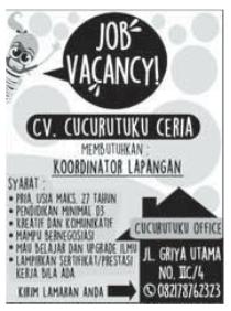 Loker Lampung Terbaru di CV. Cucurutuku Ceria Bandar Lampung Mei 2016
