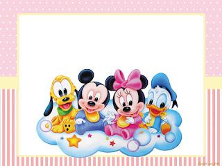 Bebés Disney en Rosa: Invitaciones, Conos y Cajas para Imprimir Gratis.