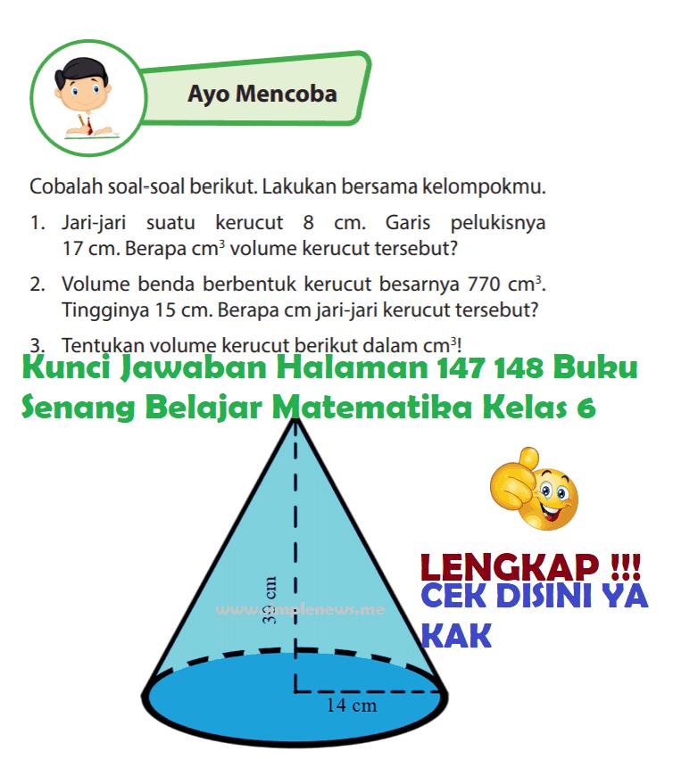 Lengkap Kunci Jawaban Halaman 147 148 Buku Senang Belajar Matematika Kelas 6 Kunci Jawaban Lengkap Terbaru Simplenews