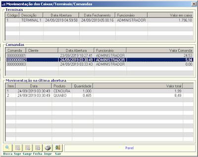 NeXT ERP Retaguarda monitorando movimentações de caixa e comandas