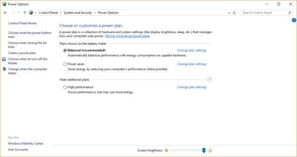 Power Settings in windows 10