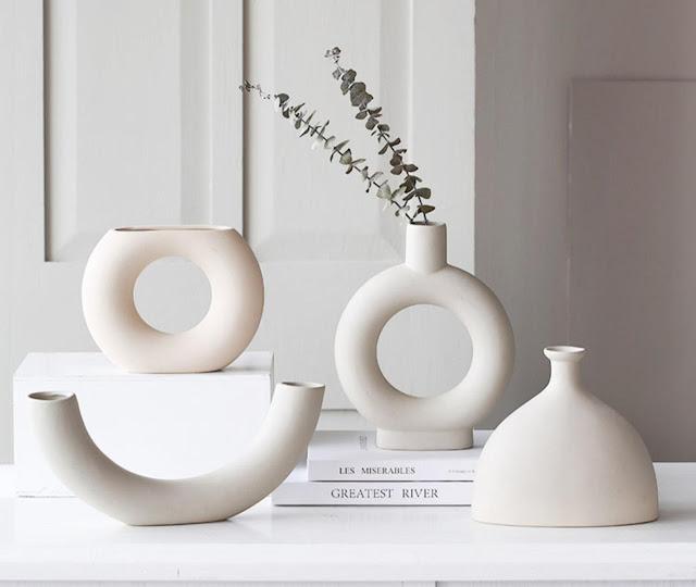 white modern sculptural vases