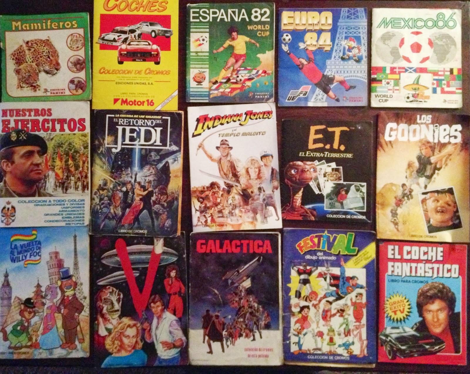 Álbumes de cromos de los 80's - Aquellos maravillosos años - Friki - el fancine - el troblogdita - El retorno del Jedi - Indiana Jones - ET - Los Goonies - Willy Fog - V - Galáctica - Festival - El coche fantástico - Cromos - Cromos de los 80 - EGB - ÁlvaroGP