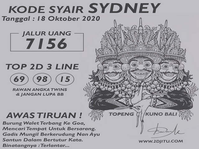 Kode syair Sydney Minggu 18 Oktober 2020 130