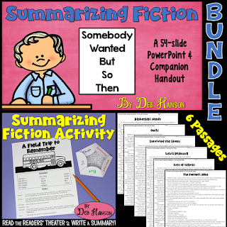 "Writing a summary is simple when you use the ""Somebody Wanted But So Then"" summarizing strategy. This summarizing fiction bundle includes a PowerPoint, a Readers' Theater activity, and 6 practice worksheets."