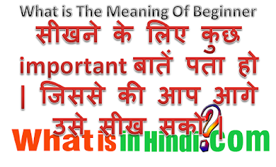 What is the meaning of Beginner in Hindi