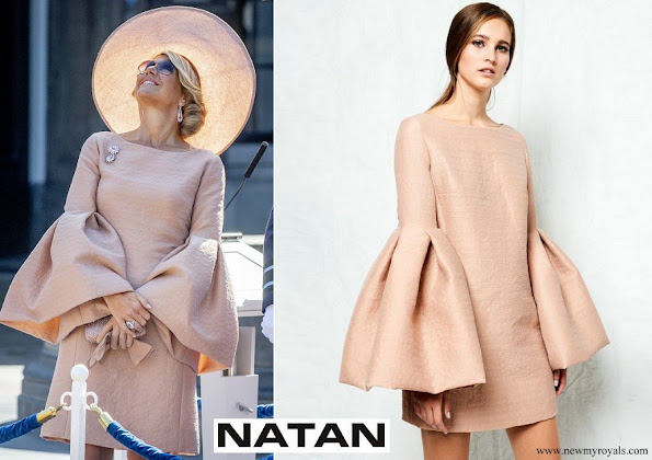 Queen Maxima wore NATAN Crepe effect dress with ruffled sleeves