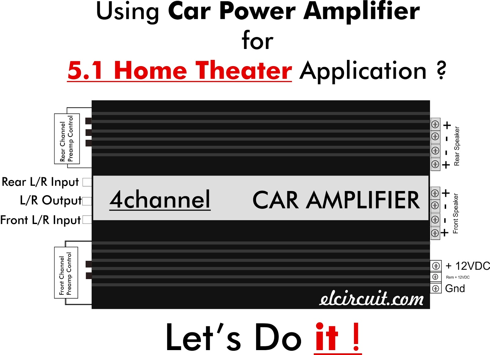 small resolution of 5 1 home theater using car power amplifier