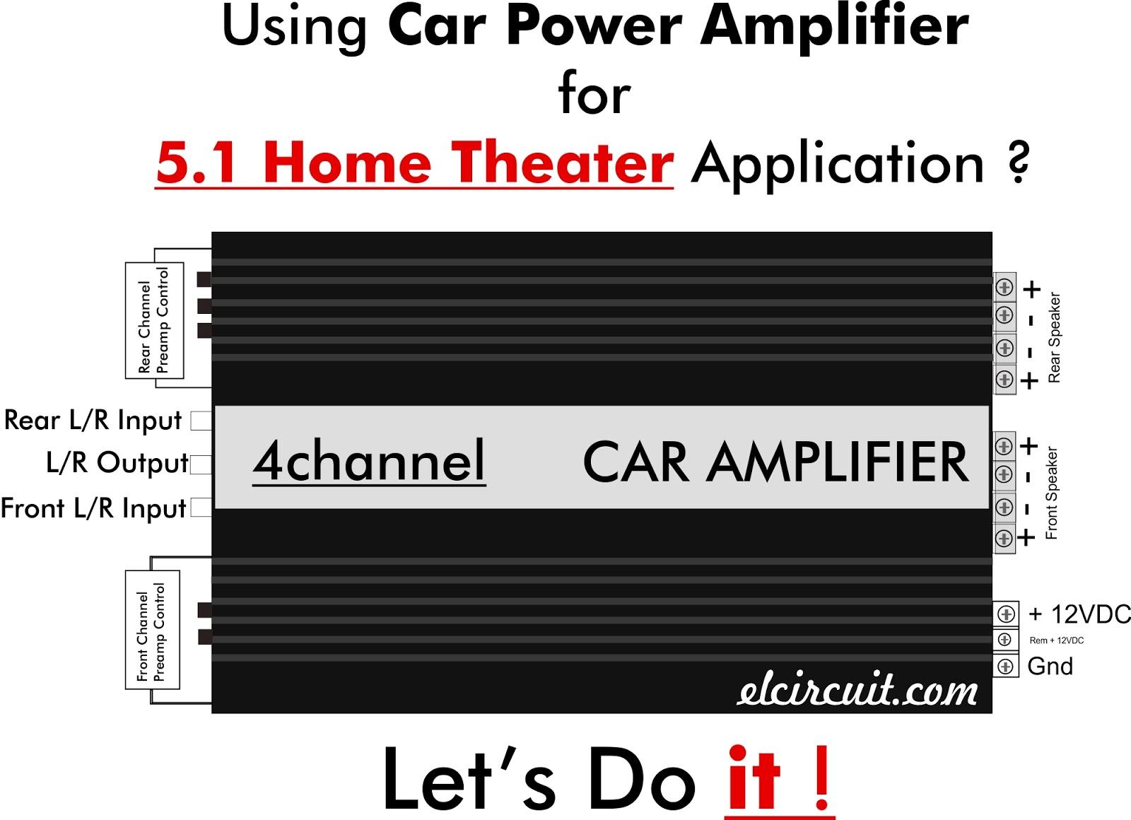 medium resolution of 5 1 home theater using car power amplifier