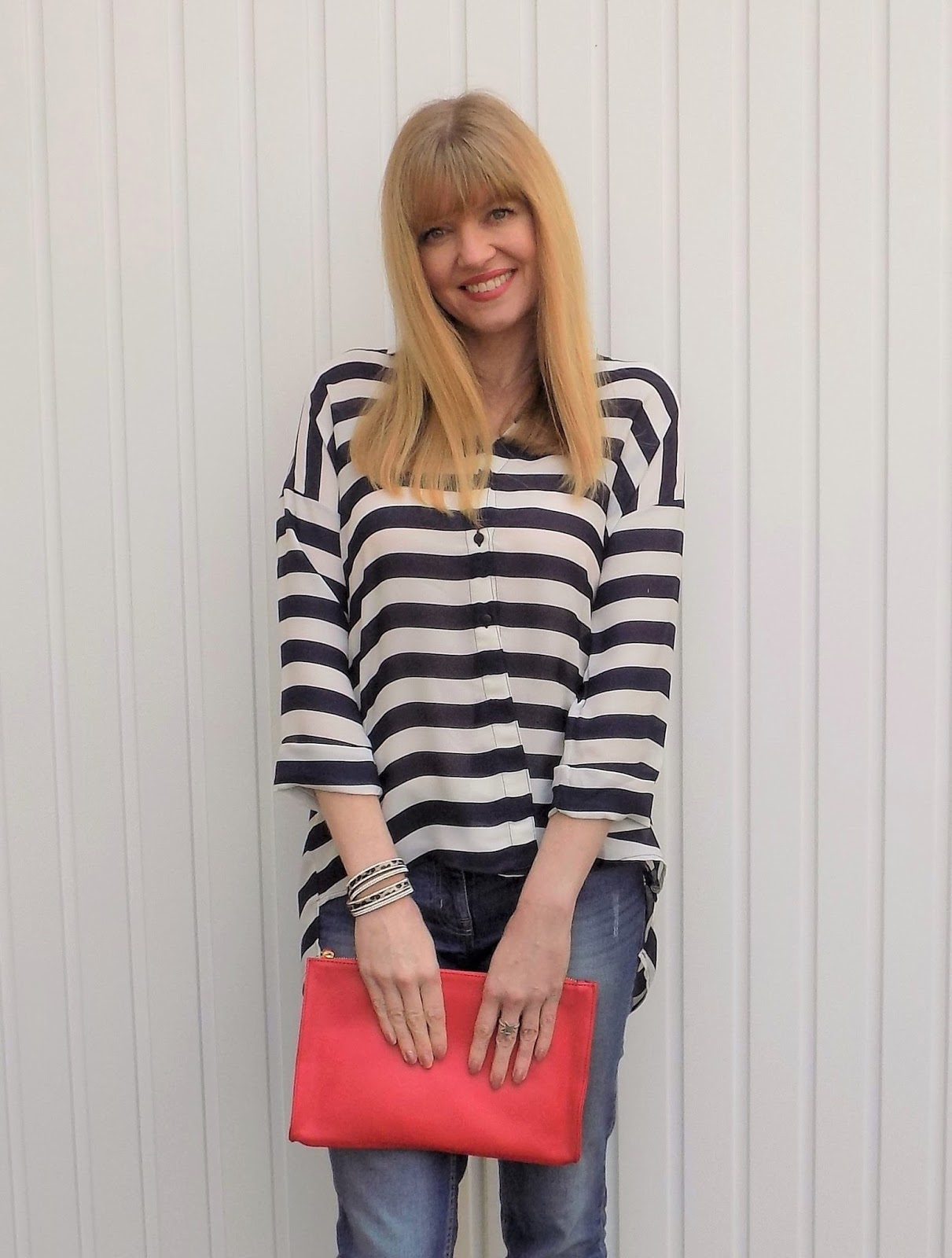 Navy striped dipped hem shirt with boytriend jeans and leopard print heels
