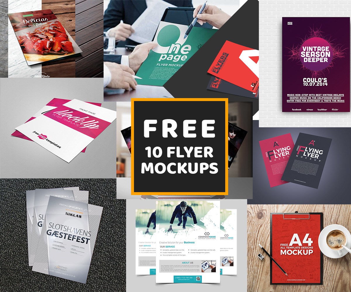 10-Different-Types-of-Free-PSD-Flyer-Mockups-Collection, PSD mockup collection free download