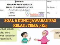 Soal UAS/PAS Kelas 1 Tema 7 Sub Tema 1, 2, 3, 4 dan Kunci Jawaban