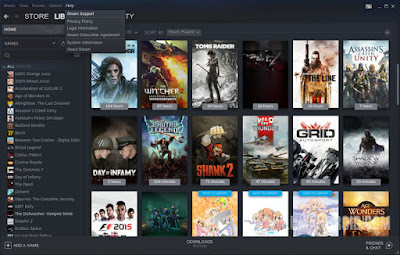 Membuka ke Menu Steam Support via Help