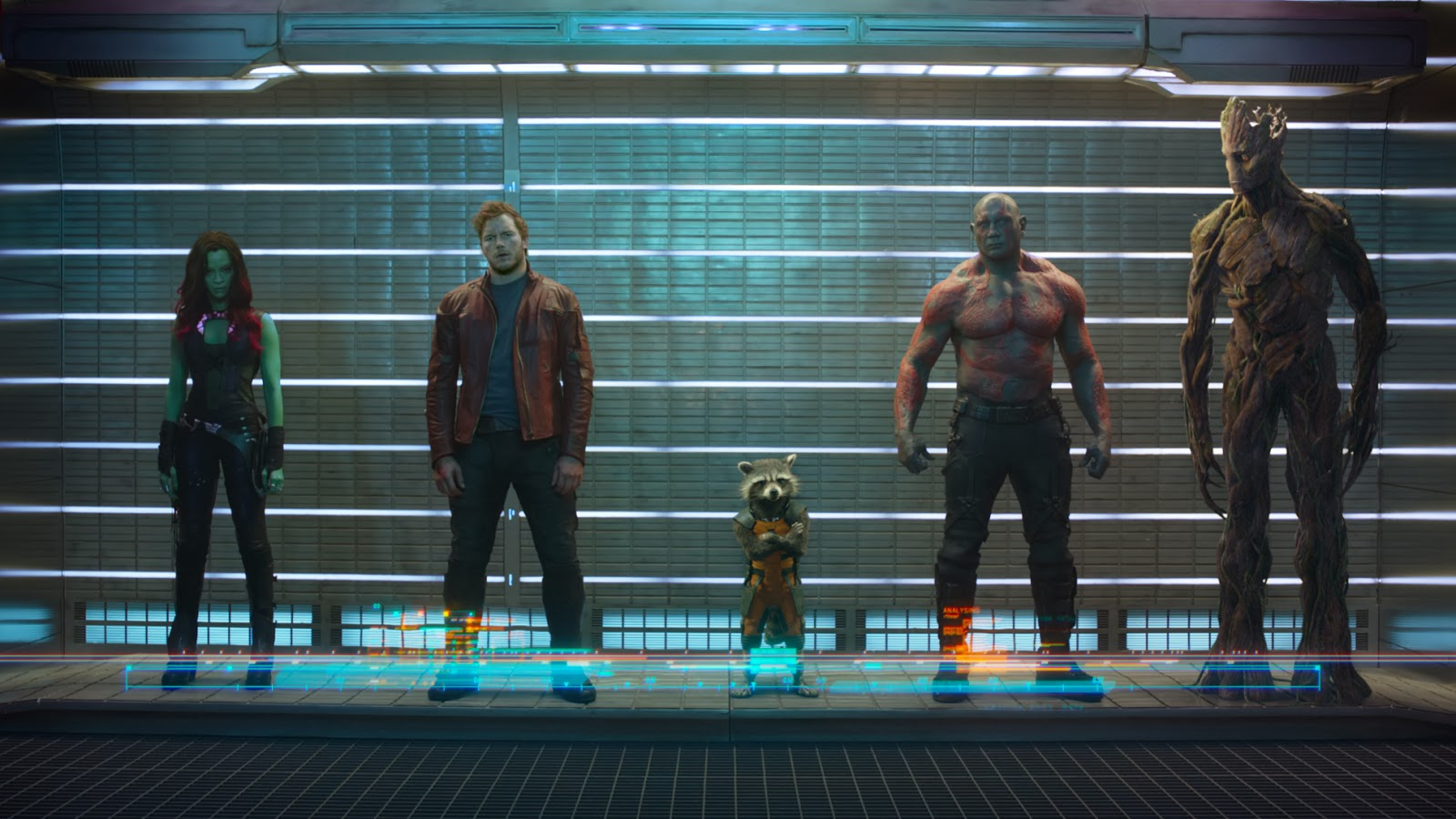 The Guardians of the Galaxy:  Gamora, Star Lord, Rocket Racoon, Drax the Destroyer, and Groot