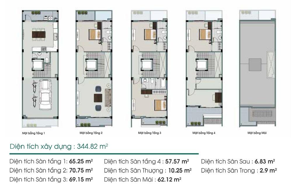 Mặt bằng thiết kế loại liền kề 4 tầng Him Lam Green Park