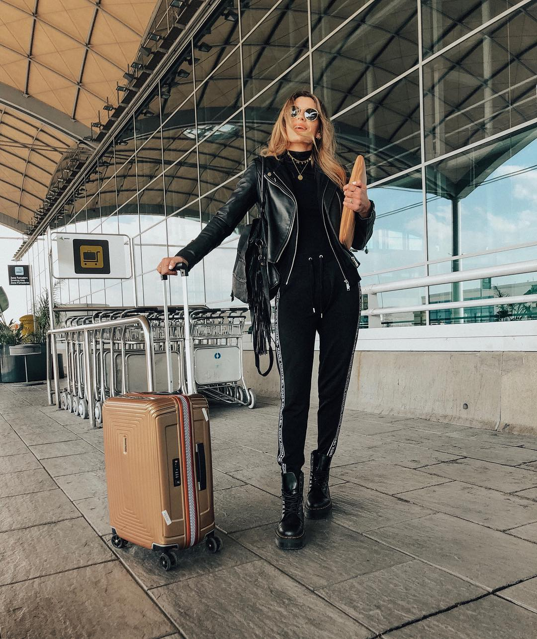 This Chic Airport Outfit is So Easy to Recreate