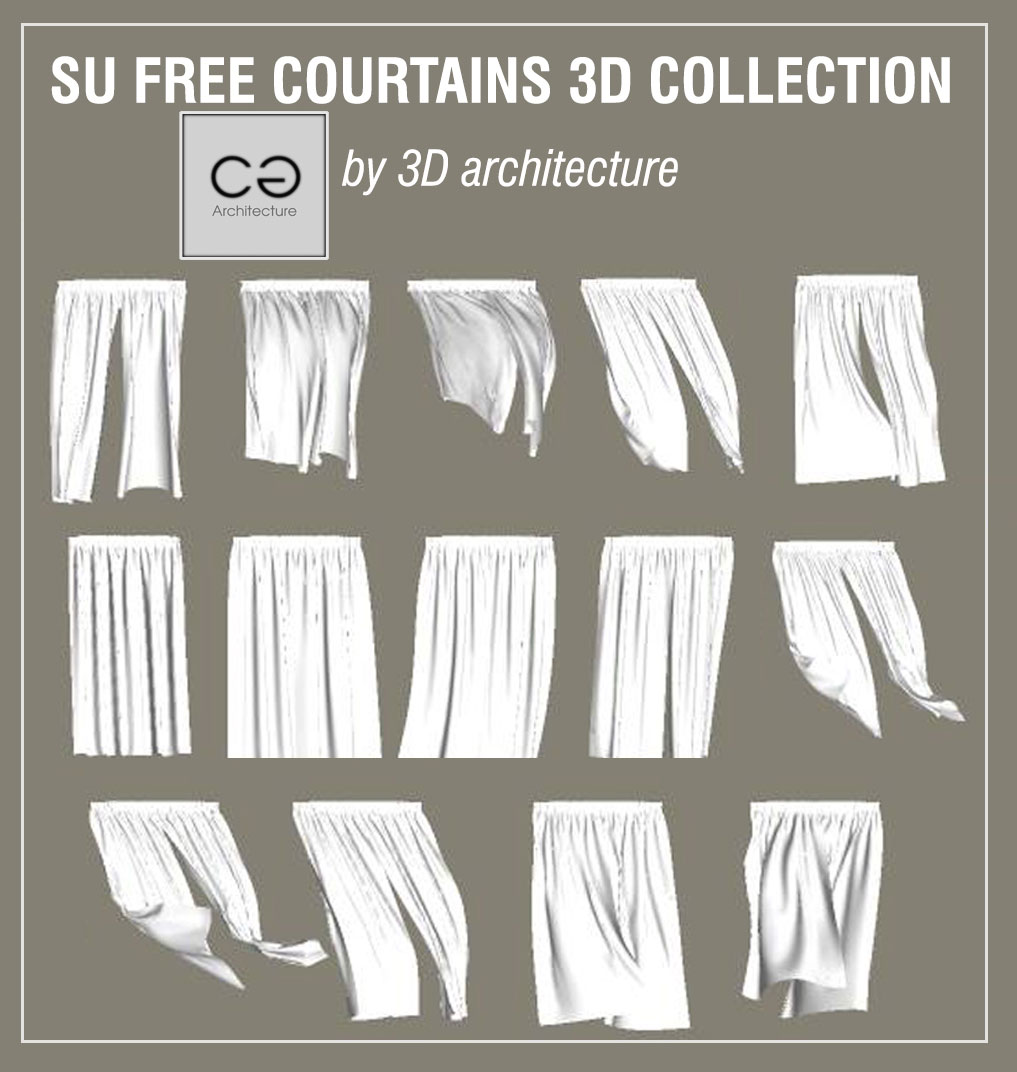 Free sketchup 3d models curtains collection #6 - Vray