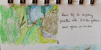 Tekening van voorjaarsbos met haiku