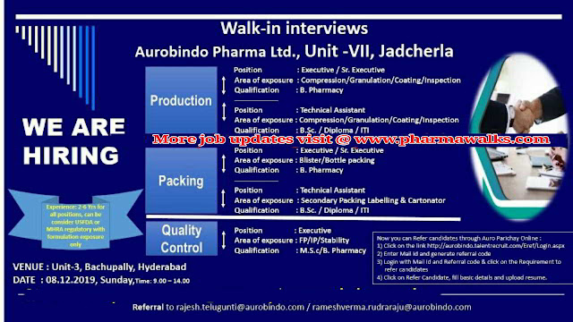 Aurabindo Pharma walk-in interview for multiple positions on 8th December, 2019