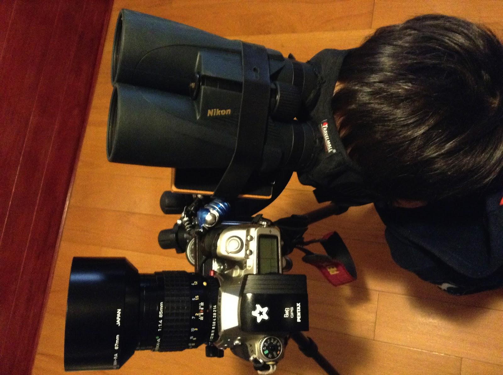 為雙筒望遠鏡加上遮光眼罩