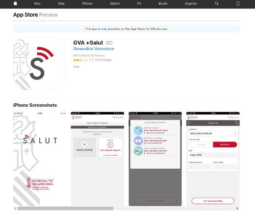 Sanidad lanza la nueva actualización de la app GVA+Salut que cuenta ya con más de 272.000 descargas de los usuarios