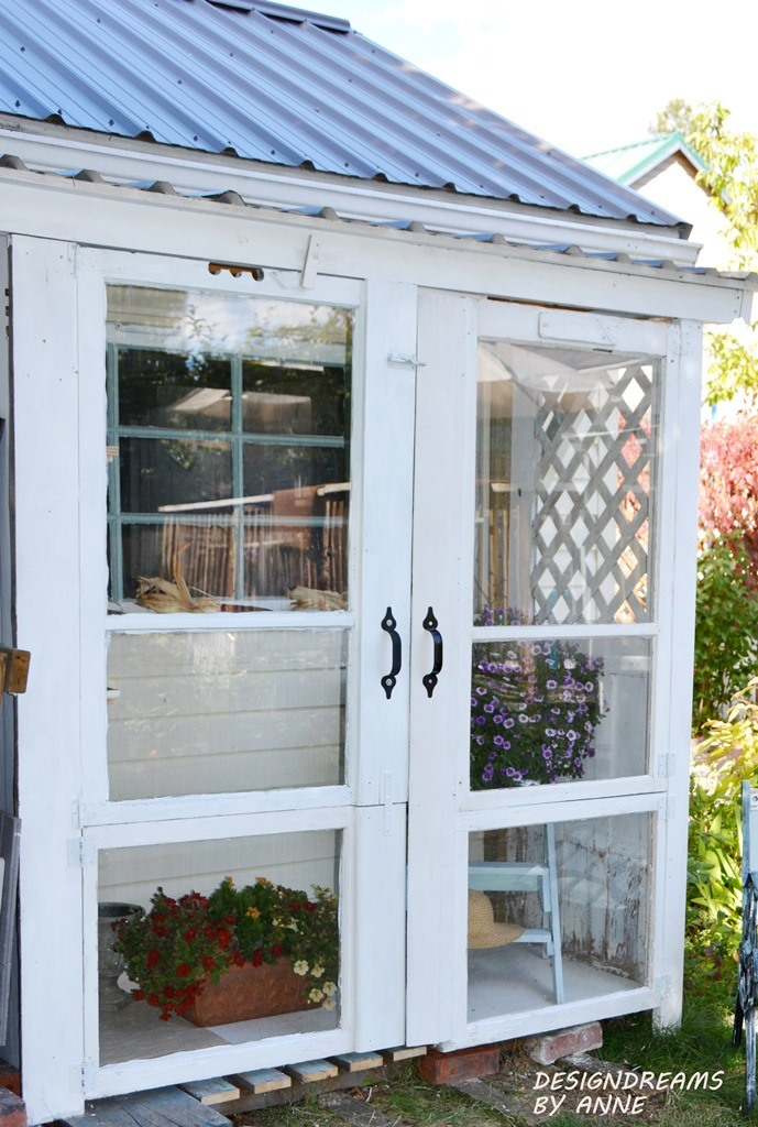 leanto greenhouse from old doors and windows