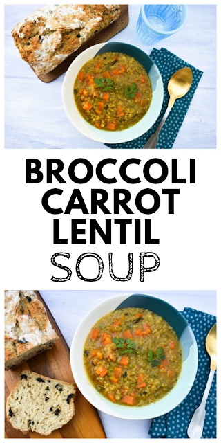 Broccoli, Carrot & Lentil Soup. A hearty soup that makes a filling meal, that is full of flavour but low calorie. Easy to make and can be frozen. #broccolisoup #carrotsoup #redlentilsoup #lentilsoup #soup #lowcaloriesoup #vegansoup #easysouprecipe