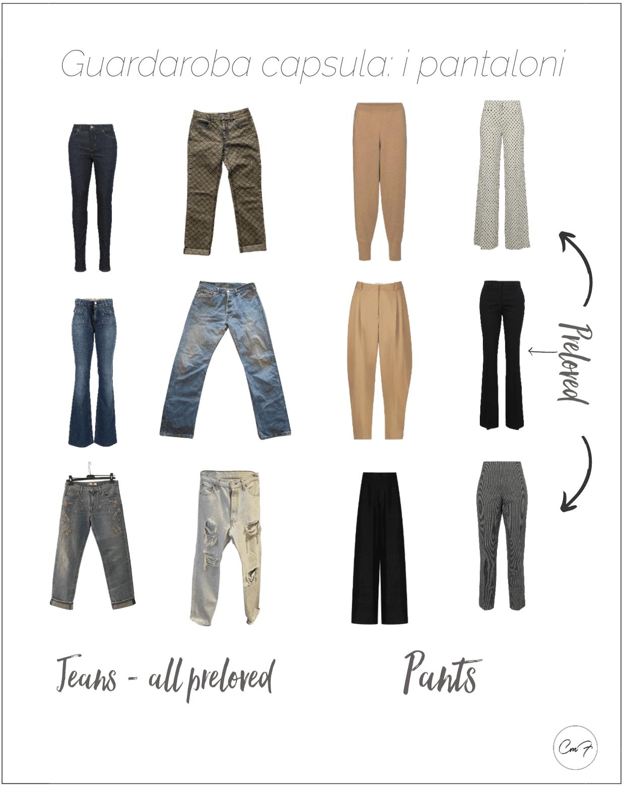 I pantaloni e i jeans adatti a un guardaroba capsula sono semplici e dal taglio regolare