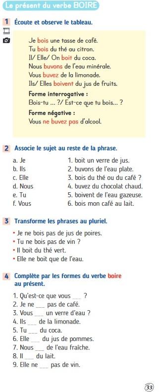 Czasowniki trzeciej grupy - czasownik boire - ćwiczenie - Francuski przy kawie