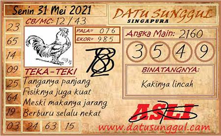 Prediksi Datu Sunggul SGP Hari Ini 31 Mei 2021