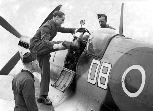 Douglas Bader enters his fighter in World War II worldwartwo.filminspector.com