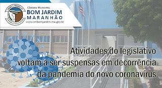 Após o crescente número de casos de Covid-19, atividades da Câmara Municipal de Bom Jardim voltam a ser suspensas por 15 dias.