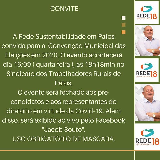 REDE Patos anuncia Convenção Municipal Eleitoral para próxima quarta (16)
