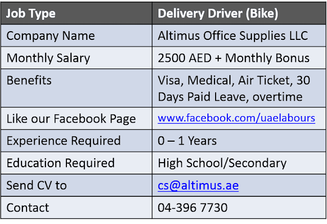 UAE Driving Vacancies