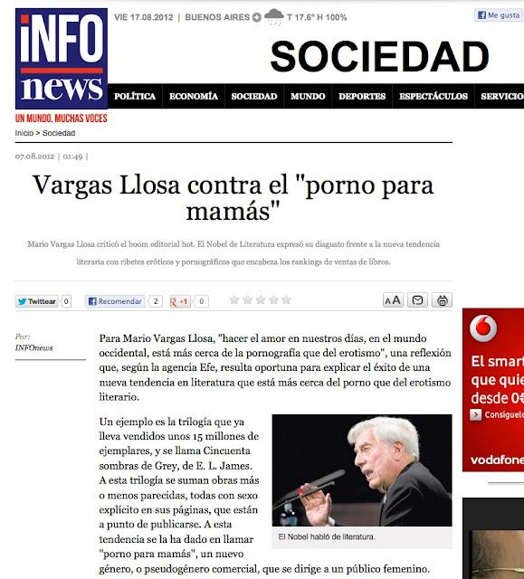 InfoNews ARGENTINA | Vargas Llosa contra el 'porno para mamás'