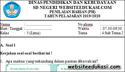 Soal PH / UH Kelas 5 Tema 4 Subtema 2 K13