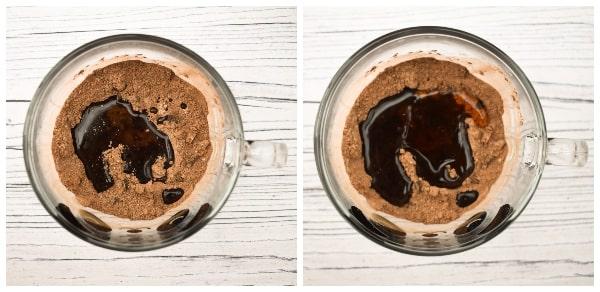 Making a chocolate brownie mug cake - step 4 - maple syrup & oil added oil