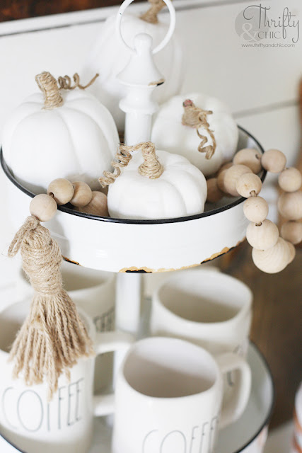 Farmhouse fall decor and decorating ideas. Neutral fall decor. Fall tablescape decor. Neutral fall place settings. White and green fall decor. How to decorate for fall. Decorate with me. Shiplap wall in dining room. Mismatched dining room chairs.