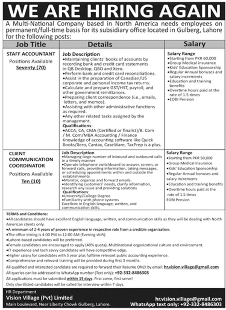 hr.vision.village@gmail.com - Vision Village Private Limited Jobs 2021 in Pakistan