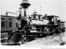 Photo, c1910, 'Locomotive for train on which Jefferson Davis fled from Richmond in April 1865.' Retrieved 2021 from DeGolyer Library, Southern Methodist University.