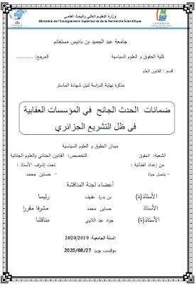 مذكرة ماستر: ضمانات الحدث الجانح في المؤسسات العقابية في ظل التشريع الجزائري PDF