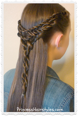 Pretty hairstyle. The tangled twists tie back.