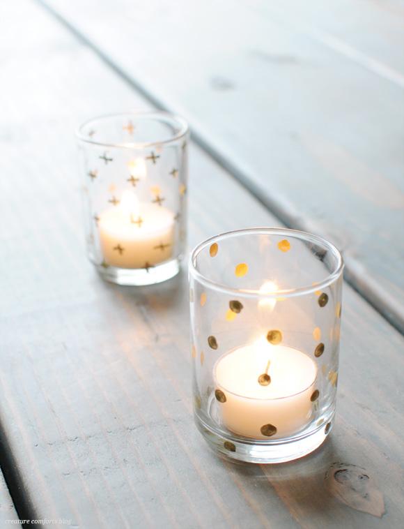 DIY Vasos decorados y utilizados como porta velas.