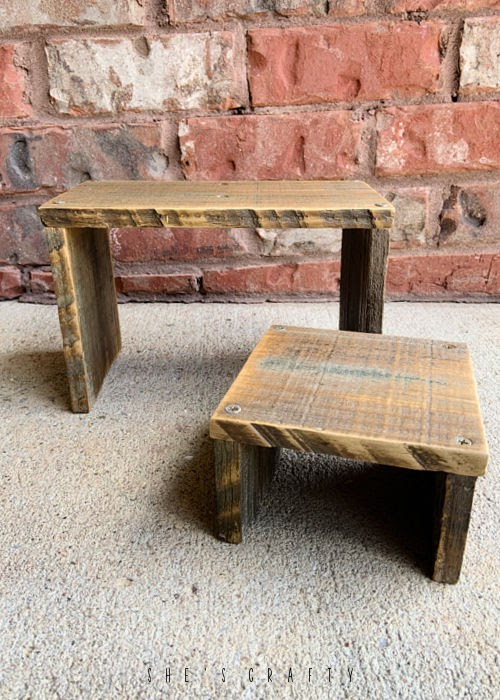 Wooden stool or riser made from reclaimed wood.